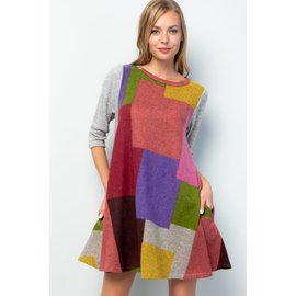 RETRO COLORBLOCK SWING DRESS