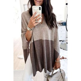 TAUPE COLOR BLOCK PONCHO
