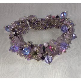 Chunky Beaded Bracelet   Pale Lavender