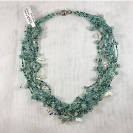 9 Strand Necklace Pale Aqua