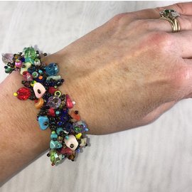 Chunky Beaded Bracelet   Bright Multi