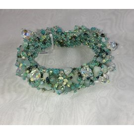Chunky Beaded Bracelet   Pale Aqua