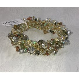 Chunky Beaded Bracelet   Peach Sage