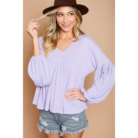 SALE-LAVENDER RIB KNIT TOP