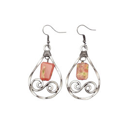 BANJARA EARRINGS PINK PERUVIAN OPAL