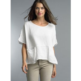 TEMPO PARIS SALE- WHITE LINEN POCKET TOP