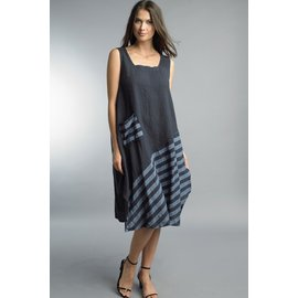 TEMPO PARIS SALE- NAVY ASYMMETRICAL COLOR BLOCK DRESS