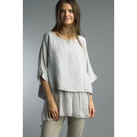 TEMPO PARIS SALE- DOVE LINEN AND CHIFFON TOP