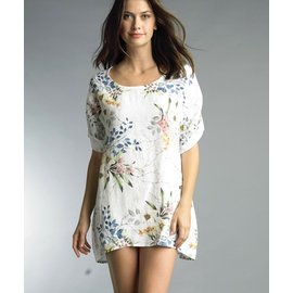 TEMPO PARIS SALE- FLORAL LINEN TUNIC DRESS
