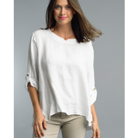 TEMPO PARIS WHITE LINEN BUTTON HEM TOP- S/M ONLY