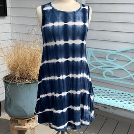 SALE - NAVY TIE DYE POCKET DRESS  - WAS $40- SMALL ONLY