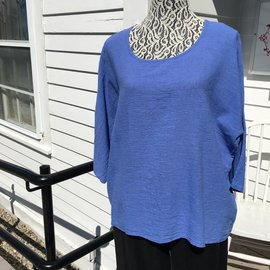 SALE- PERIWINKLE COTTON FLAIR TOP-FREE SIZE