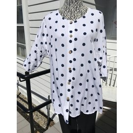 SALE- POLKA DOT BUTTON FRONT TOP-FREE SIZE