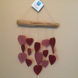 PINK & RED HEART DRIFTWOOD WINDCHIME