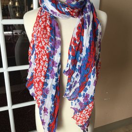 Purple Red Blue Flowers Scarf