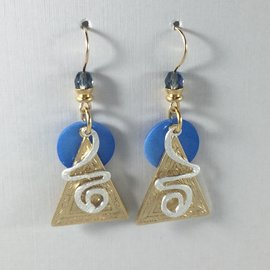 Triangle CurlyQ Blue Earrings