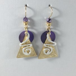 Triangle CurlyQ Violet Earrings