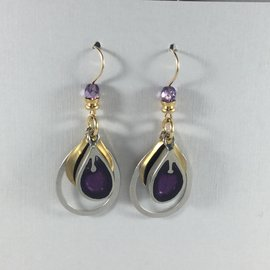 Triple Teardrop Purple Earrings