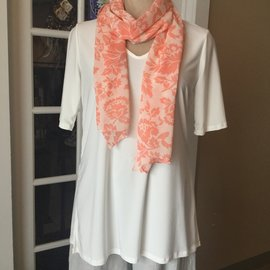 Coral Flowers on White Rayon Scarf