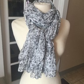 FLORAL CRINKLE SCARF WHITE