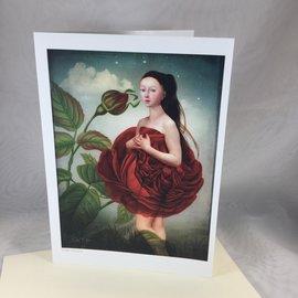 Art Blank Card Rose Girl