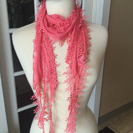 Lace Trim Scarf - Coral