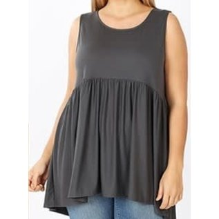 SLEEVELESS EMPIRE WAIST TOP- PLUS FIT - COLOR CHOICE