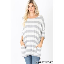 SALE- HEATHER GREY/IVORY WIDE STRIPE TOP