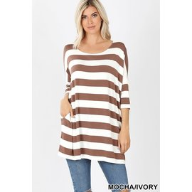 MOCHA/IVORY WIDE STRIPE TOP