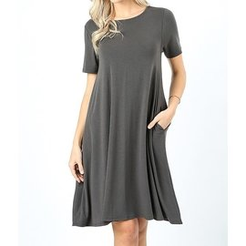 GRAPHITE SHORT SWINGY DRESS