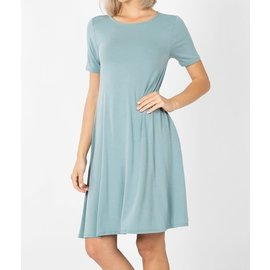 SLATE BLUE SHORT SWINGY DRESS