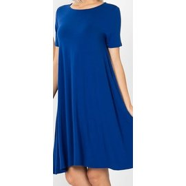 SALE- TRUE BLUE SHORT SWINGY DRESS (WAS $28) XL ONLY