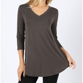 GRAPHITE V NECK TOP