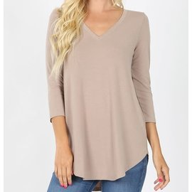 CAFE AU LAIT V NECK TOP