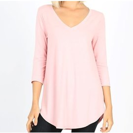 PALE PINK V NECK TOP