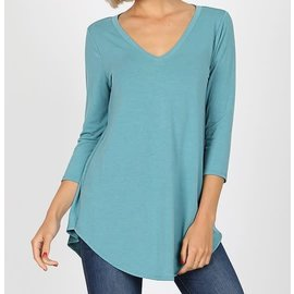 LIGHT  TEAL V NECK TOP