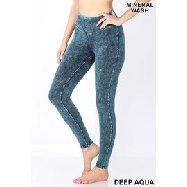 DEEP AQUA MINERAL WASH LEGGINGS