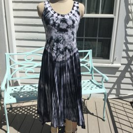 SALE! Long Tie Dye Dress Black  Medium