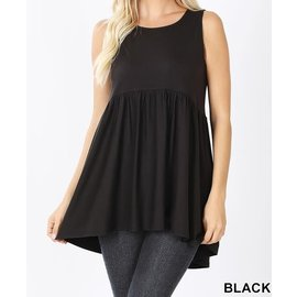 BLACK SLEEVELESS EMPIRE WAIST TOP