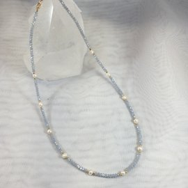 Crystal and Pearl Necklace Blue