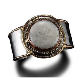 MIXED METALS MOONSTONE CUFF