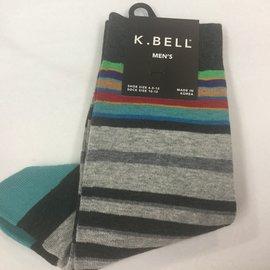 K.Bell Men's Grey Stripes Socks