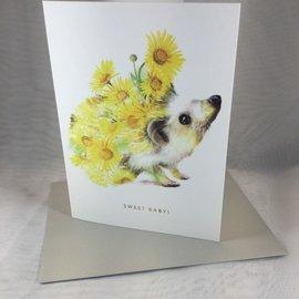 New Baby Card Botanical Hedgehog