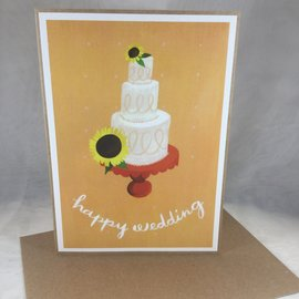 Wedding Card Sunflower Cake Love is Sweet