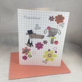 Wedding Card Dog Couple Flowers