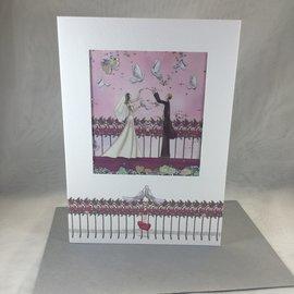 Wedding Card Glitter Doves (blank)