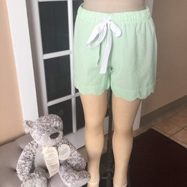 Scalloped Lounge Shorts GREEN SMALL