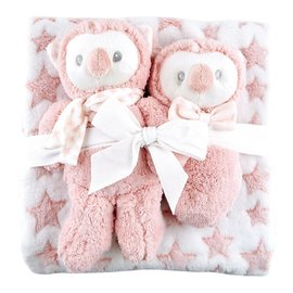 PINK OWL SET - BLANKET, RATTLE, PLUSH TOY