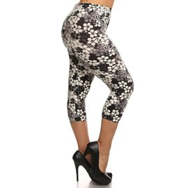 SHADES OF GREY FLORAL CAPRI LEGGING - PLUS FIT FREE SIZE