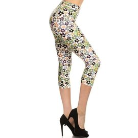 POP DAISIES CAPRI LEGGINGS- PLUS FIT FREE SIZE